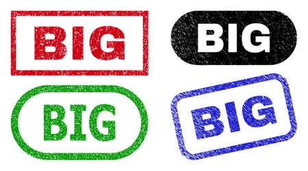 BIG grunge seals. Flat vector grunge watermarks with BIG text inside different rectangle and rounded forms, in blue, red, green, black color variants. Watermarks with corroded style.