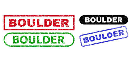 BOULDER grunge watermarks. Flat vector grunge stamps with BOULDER slogan inside different rectangle and rounded forms, in blue, red, green, black color variants. Watermarks with grunge texture.