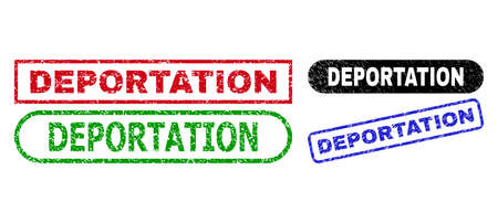 DEPORTATION grunge seal stamps. Flat vector grunge seal stamps with DEPORTATION caption inside different rectangle and rounded shapes, in blue, red, green, black color versions.