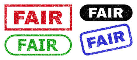 FAIR grunge watermarks. Flat vector textured seals with FAIR tag inside different rectangle and rounded forms, in blue, red, green, black color variants. Watermarks with grunge texture.