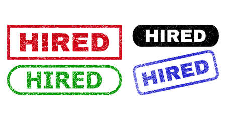HIRED grunge seal stamps. Flat vector grunge stamps with HIRED slogan inside different rectangle and rounded forms, in blue, red, green, black color versions. Watermarks with unclean style.
