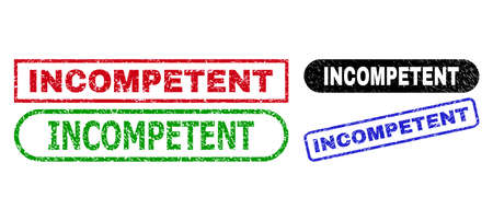 INCOMPETENT grunge seal stamps. Flat vector grunge watermarks with INCOMPETENT slogan inside different rectangle and rounded forms, in blue, red, green, black color versions.