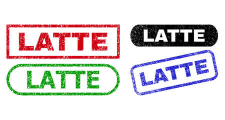 LATTE grunge watermarks. Flat vector grunge watermarks with LATTE caption inside different rectangle and rounded forms, in blue, red, green, black color versions. Watermarks with distress surface.