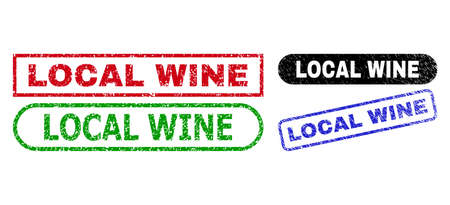 LOCAL WINE grunge stamps. Flat vector grunge seal stamps with LOCAL WINE message inside different rectangle and rounded shapes, in blue, red, green, black color variants. Imprints with grunge texture.