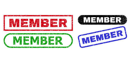 MEMBER grunge seal stamps. Flat vector grunge seal stamps with MEMBER caption inside different rectangle and rounded shapes, in blue, red, green, black color versions.