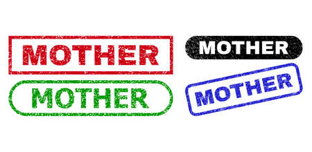 MOTHER grunge seals. Flat vector scratched seals with MOTHER text inside different rectangle and rounded frames, in blue, red, green, black color versions. Imprints with scratched style.