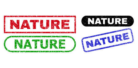 NATURE grunge stamps. Flat vector scratched seal stamps with NATURE text inside different rectangle and rounded forms, in blue, red, green, black color variants. Imprints with scratched texture.
