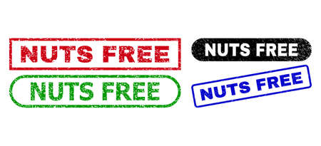 NUTS FREE grunge seal stamps. Flat vector scratched stamps with NUTS FREE message inside different rectangle and rounded forms, in blue, red, green, black color versions.