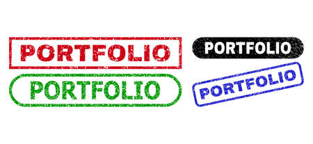 PORTFOLIO grunge seal stamps. Flat vector distress seal stamps with PORTFOLIO title inside different rectangle and rounded frames, in blue, red, green, black color versions.