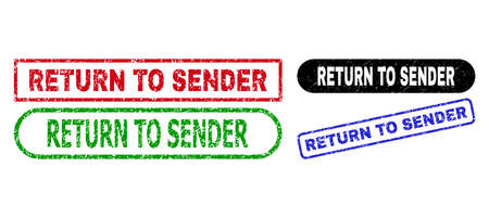 RETURN TO SENDER grunge seal stamps. Flat vector textured seal stamps with RETURN TO SENDER caption inside different rectangle and rounded shapes, in blue, red, green, black color versions.