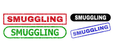 SMUGGLING grunge seal stamps. Flat vector scratched seal stamps with SMUGGLING slogan inside different rectangle and rounded frames, in blue, red, green, black color versions.