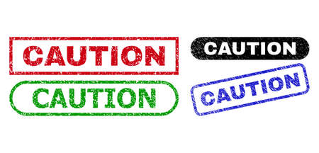 CAUTION grunge watermarks. Flat vector grunge seals with CAUTION text inside different rectangle and rounded forms, in blue, red, green, black color variants. Watermarks with unclean style.