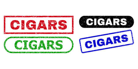 CIGARS grunge seal stamps. Flat vector grunge seal stamps with CIGARS caption inside different rectangle and rounded shapes, in blue, red, green, black color variants. Watermarks with unclean texture.