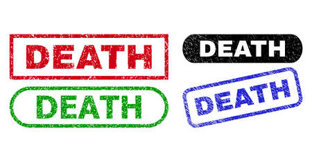 DEATH grunge watermarks. Flat vector scratched seals with DEATH slogan inside different rectangle and rounded frames, in blue, red, green, black color variants. Watermarks with scratched surface.