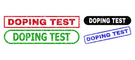 DOPING TEST grunge seal stamps. Flat vector grunge seal stamps with DOPING TEST tag inside different rectangle and rounded shapes, in blue, red, green, black color variants.