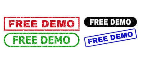 FREE DEMO grunge seal stamps. Flat vector grunge seal stamps with FREE DEMO title inside different rectangle and rounded shapes, in blue, red, green, black color versions. 向量圖像