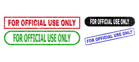 FOR OFFICIAL USE ONLY grunge seal stamps. Flat vector distress seal stamps with FOR OFFICIAL USE ONLY text inside different rectangle and rounded frames, in blue, red, green, black color variants.