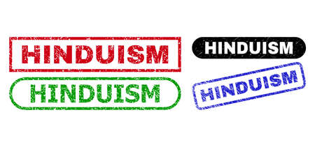 HINDUISM grunge seal stamps. Flat vector grunge seal stamps with HINDUISM slogan inside different rectangle and rounded shapes, in blue, red, green, black color versions. Vectores