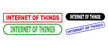INTERNET OF THINGS grunge seals. Flat vector grunge seals with INTERNET OF THINGS phrase inside different rectangle and rounded forms, in blue, red, green, black color versions.