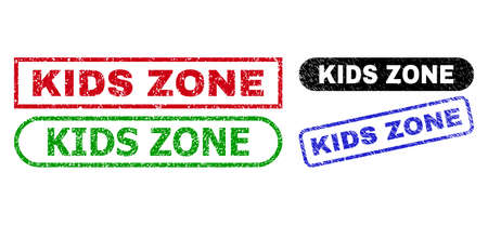 KIDS ZONE grunge seal stamps. Flat vector grunge seal stamps with KIDS ZONE slogan inside different rectangle and rounded forms, in blue, red, green, black color versions.