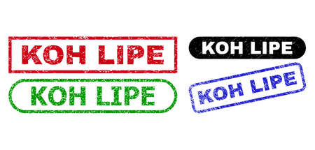 KOH LIPE grunge watermarks. Flat vector distress seal stamps with KOH LIPE text inside different rectangle and rounded frames, in blue, red, green, black color variants.