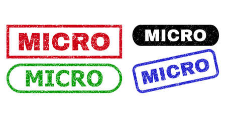 MICRO grunge seals. Flat vector textured seals with MICRO text inside different rectangle and rounded frames, in blue, red, green, black color versions. Watermarks with grunge surface.