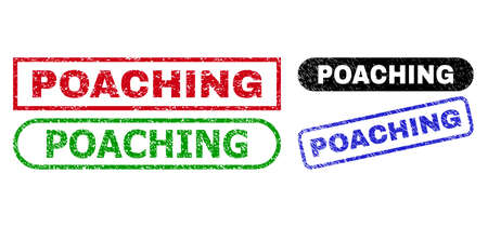 POACHING grunge watermarks. Flat vector grunge seal stamps with POACHING phrase inside different rectangle and rounded frames, in blue, red, green, black color variants.