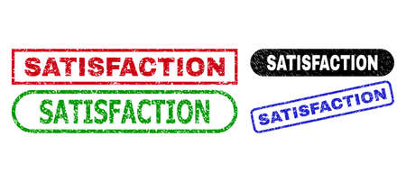 SATISFACTION grunge watermarks. Flat vector scratched watermarks with SATISFACTION phrase inside different rectangle and rounded frames, in blue, red, green, black color versions.