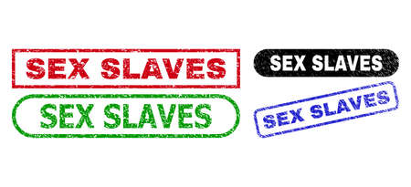 SEX SLAVES grunge seal stamps. Flat vector grunge seal stamps with SEX SLAVES message inside different rectangle and rounded forms, in blue, red, green, black color versions.