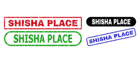 SHISHA PLACE grunge watermarks. Flat vector scratched seal stamps with SHISHA PLACE title inside different rectangle and rounded forms, in blue, red, green, black color variants. Illustration