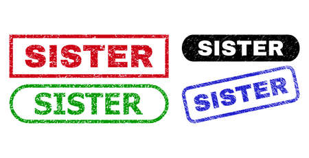 SISTER grunge seal stamps. Flat vector scratched watermarks with SISTER caption inside different rectangle and rounded shapes, in blue, red, green, black color variants. Watermarks with grunge style.