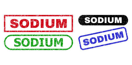 SODIUM grunge watermarks. Flat vector grunge stamps with SODIUM caption inside different rectangle and rounded forms, in blue, red, green, black color versions. Imprints with grunge surface.