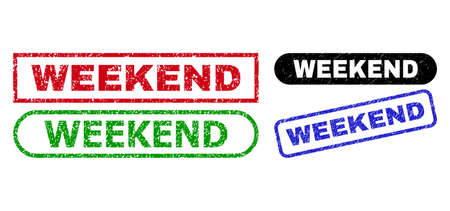 WEEKEND grunge watermarks. Flat vector grunge watermarks with WEEKEND phrase inside different rectangle and rounded shapes, in blue, red, green, black color versions. Watermarks with corroded surface.