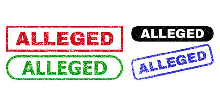 ALLEGED grunge stamps. Flat vector grunge stamps with ALLEGED tag inside different rectangle and rounded frames, in blue, red, green, black color versions. Imprints with unclean style.