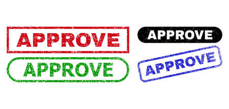 APPROVE grunge seal stamps. Flat vector grunge seal stamps with APPROVE slogan inside different rectangle and rounded shapes, in blue, red, green, black color variants.