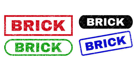 BRICK grunge seals. Flat vector textured seals with BRICK caption inside different rectangle and rounded frames, in blue, red, green, black color versions. Imprints with scratched texture.