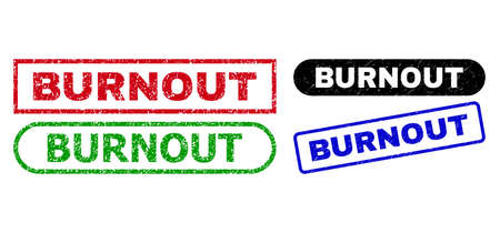 BURNOUT grunge watermarks. Flat vector grunge watermarks with BURNOUT slogan inside different rectangle and rounded frames, in blue, red, green, black color versions. Watermarks with unclean style.