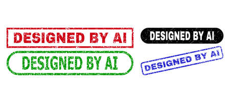 DESIGNED BY AI grunge seal stamps. Flat vector textured seal stamps with DESIGNED BY AI text inside different rectangle and rounded forms, in blue, red, green, black color versions.
