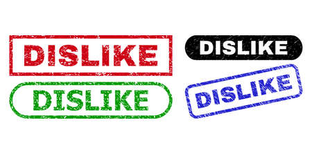 DISLIKE grunge seal stamps. Flat vector distress seal stamps with DISLIKE slogan inside different rectangle and rounded forms, in blue, red, green, black color versions.