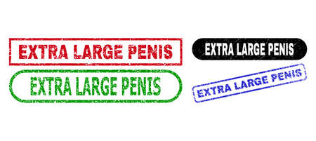 EXTRA LARGE PENIS grunge watermarks. Flat vector distress watermarks with EXTRA LARGE PENIS text inside different rectangle and rounded frames, in blue, red, green, black color versions.