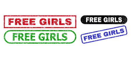 FREE GIRLS grunge seal stamps. Flat vector grunge seal stamps with FREE GIRLS phrase inside different rectangle and rounded frames, in blue, red, green, black color variants. 일러스트