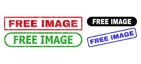 FREE IMAGE grunge seal stamps. Flat vector grunge watermarks with FREE IMAGE caption inside different rectangle and rounded forms, in blue, red, green, black color versions. 일러스트