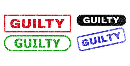 GUILTY grunge watermarks. Flat vector distress watermarks with GUILTY text inside different rectangle and rounded shapes, in blue, red, green, black color versions. Watermarks with grunged style. Vetores