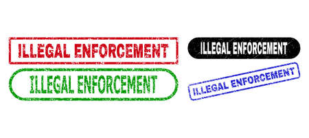 ILLEGAL ENFORCEMENT grunge seal stamps. Flat vector scratched seal stamps with ILLEGAL ENFORCEMENT slogan inside different rectangle and rounded shapes, in blue, red, green, black color versions. 矢量图像