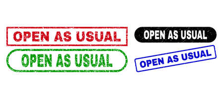 OPEN AS USUAL grunge watermarks. Flat vector grunge watermarks with OPEN AS USUAL text inside different rectangle and rounded frames, in blue, red, green, black color versions.