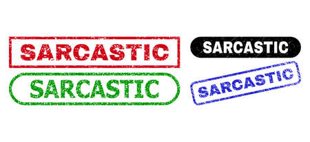 SARCASTIC grunge watermarks. Flat vector grunge watermarks with SARCASTIC caption inside different rectangle and rounded forms, in blue, red, green, black color versions.