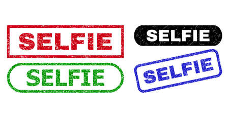 SELFIE grunge stamps. Flat vector distress seal stamps with SELFIE message inside different rectangle and rounded shapes, in blue, red, green, black color versions.