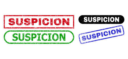 SUSPICION grunge watermarks. Flat vector grunge stamps with SUSPICION message inside different rectangle and rounded frames, in blue, red, green, black color versions. Watermarks with grunge style. Vektoros illusztráció