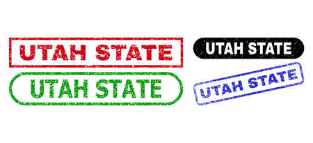 UTAH STATE grunge seal stamps. Flat vector distress seal stamps with UTAH STATE message inside different rectangle and rounded forms, in blue, red, green, black color variants.