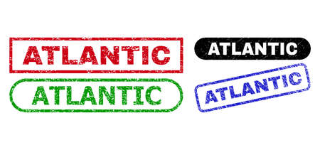 ATLANTIC grunge watermarks. Flat vector grunge stamps with ATLANTIC title inside different rectangle and rounded forms, in blue, red, green, black color versions. Watermarks with corroded surface.